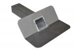 Aluminium kiezelbak 6x8cm uitloop 33 cm 45º